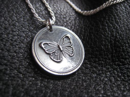 Custom Made Butterfly Sterling Silver Pendant Necklace