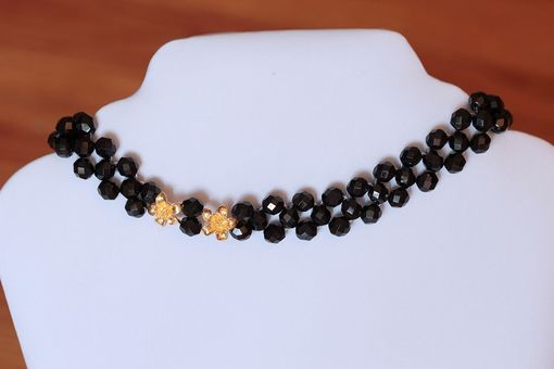 Custom Made The Little Black Bohemian Necklace With 24k Gold Flowers