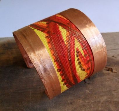 Custom Made Copper Cuff Bracelet With Red And Yellow Hand Printed Canvas