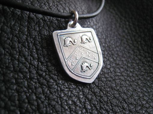 Custom Made Sterling Silver Pendant Necklace With Family Crest Coat Of Arms Heraldic Motif
