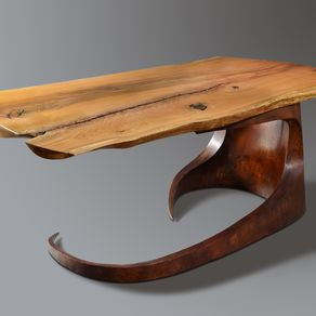 Reclaimed Live Edge Maple Desk With Steel Base