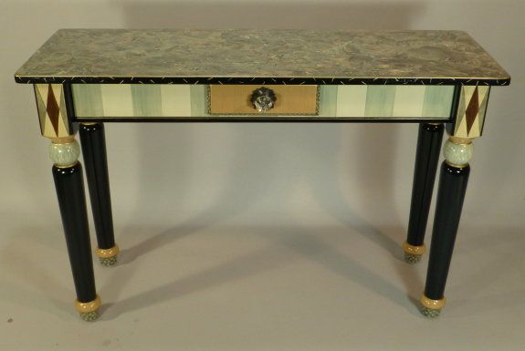 Custom Made Hand Painted Sofa Table With Turned Legs And Drawer