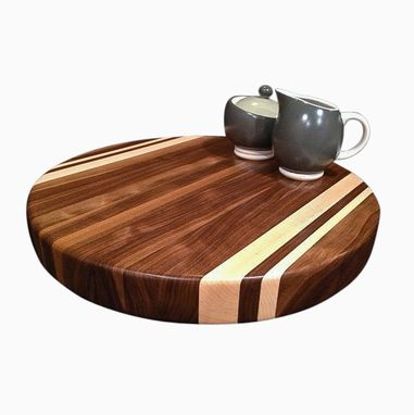 Custom Made Round Walnut And Maple Cutting Board