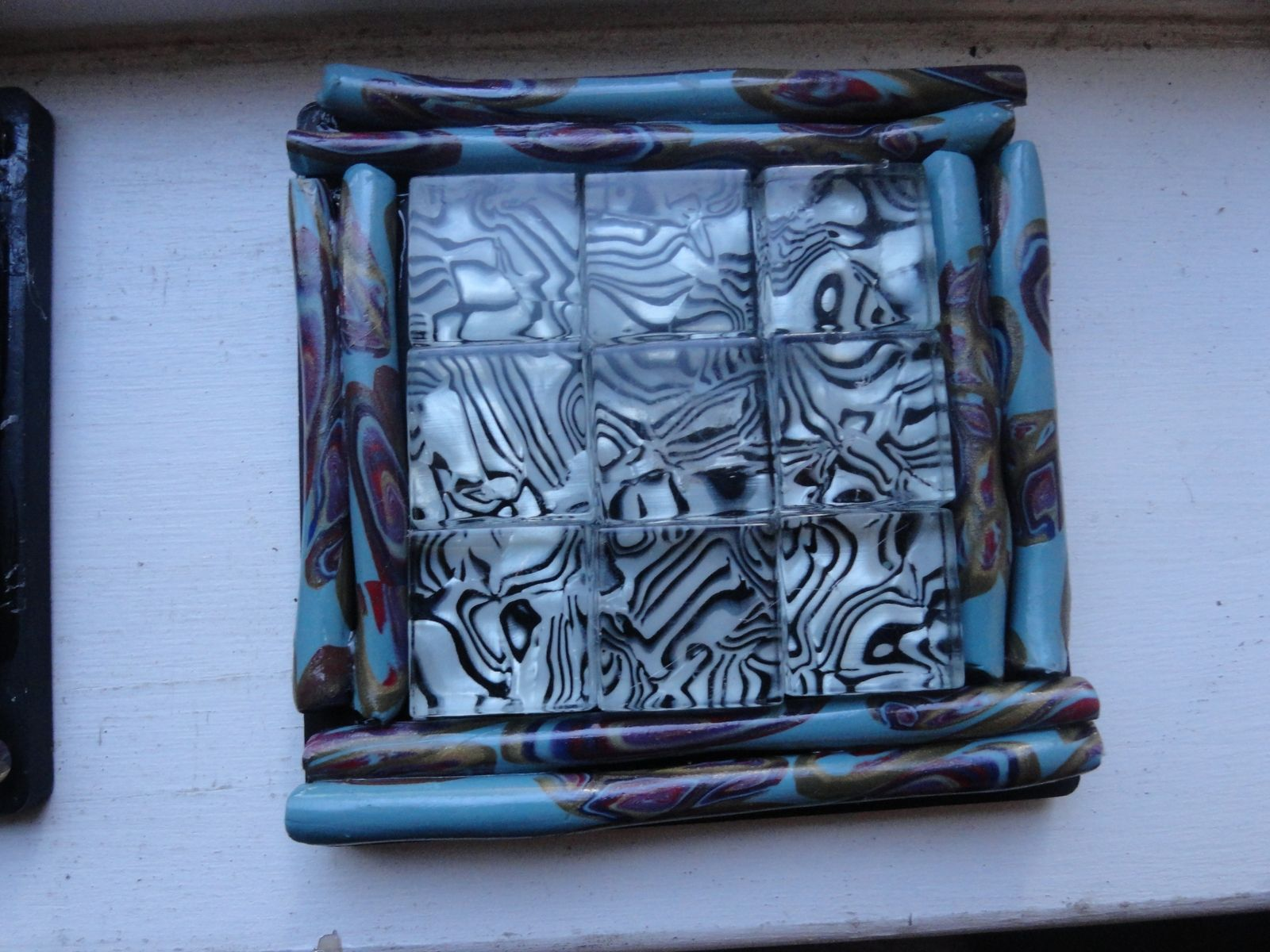 Buy a Handmade Coasters, Mosaic Black/White Glass, Polymer Clay ...