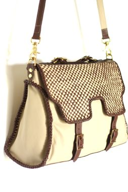 Custom Made Woven Check Satchel / Leather Handbag