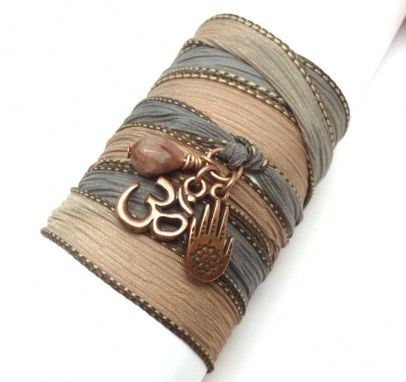 Custom Made Silk Ribbon Wrap Bracelet With Copper Om And Hamsa