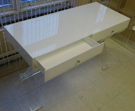 "Custom Made Acrylic Desk With ""X"" Base , Duel Drawer Assembly - Hand Crafted Custom Sized"