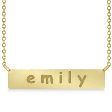 Custom Made Personalized Engraved Name Necklace Bar Pendant