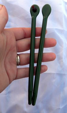 Custom Made Hand-Blown Glass Hair Sticks With Ladybug Accents