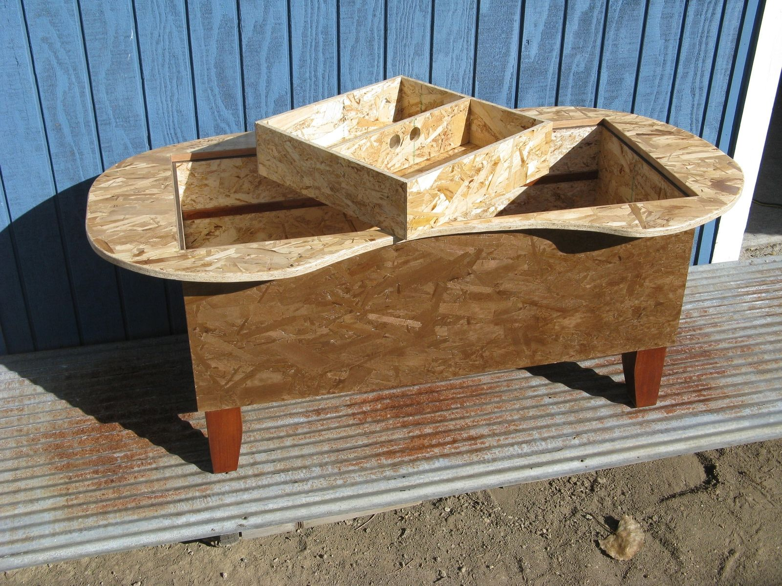 Hand Crafted Bathtub Kidney Bean Shaped Coffee Table by Modular