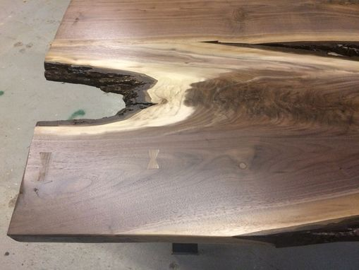 Custom Made Live Edge Local Black Walnut Table With Some Bark And Interesting Shaping