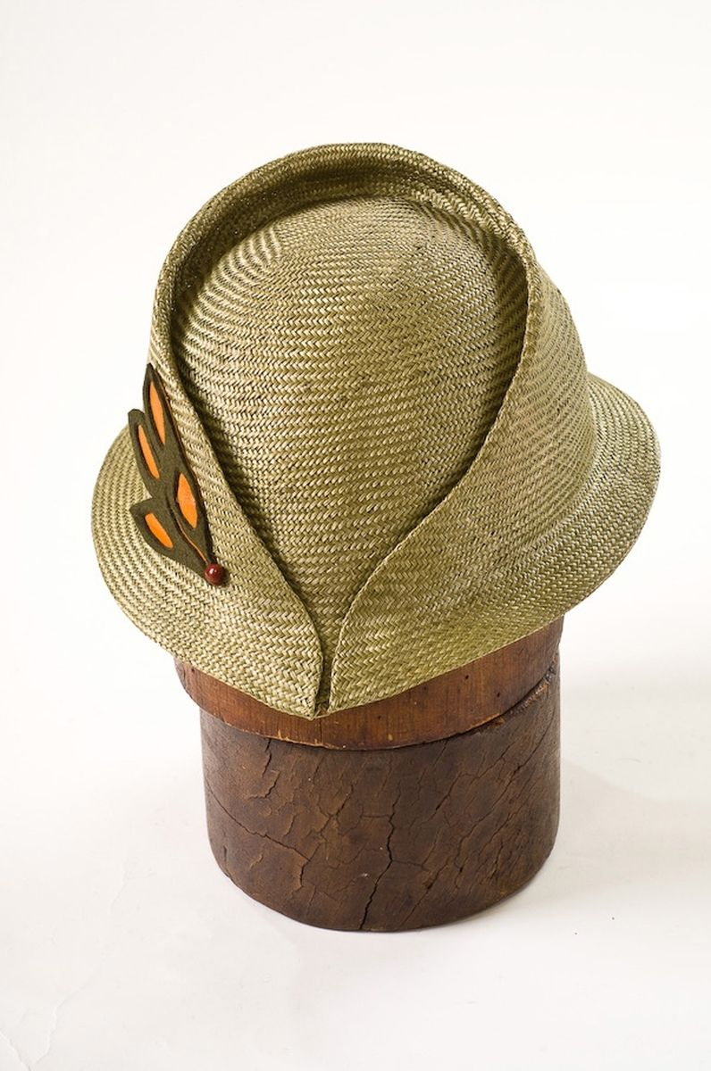 d61f726186c Hand Made Mina-Loy Leather Applique Fedora Style Hat by Corina ...