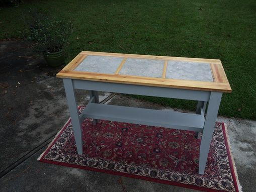 Custom Made Console Table With Inlaid Ceramic Tile.  Perfect For Kitchen Prep