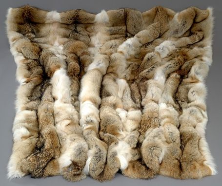 Custom Made Natural Coyote Fur Blanket- Custom Sizes Available