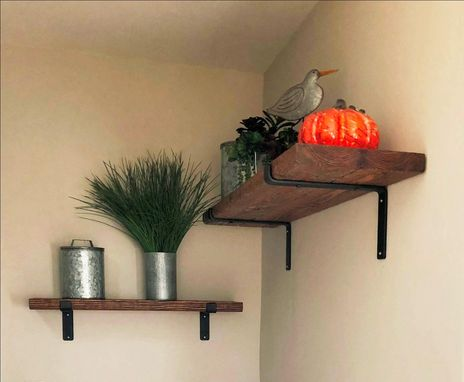Custom Made Rustic Farmhouse Shelf With Iron Brackets, Distressed Wood Shelf & Black Steel Brackets