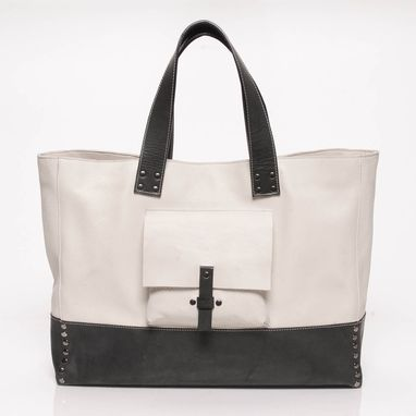Custom Made Leather Tote Bag - Fully Lined - White And Charcoal Grey