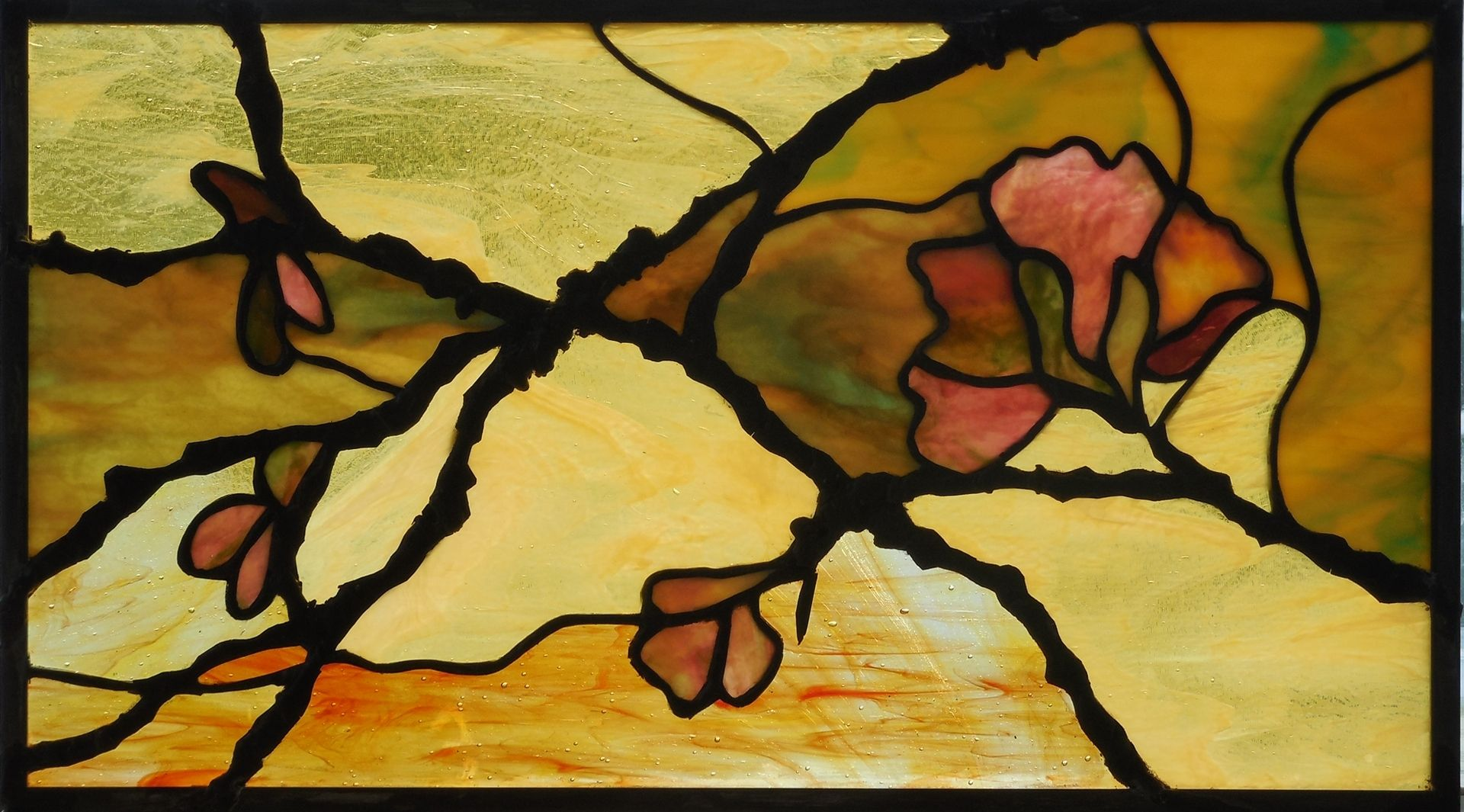 Custom Made Stained Glass Panel Flowering Branches by Judi Cahill ...