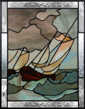 "Custom Made Stained Glass Panel ""The Storm"""