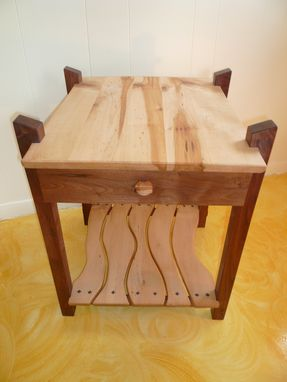 Custom Made Black Walnut & Maple End Table W/ Drawer