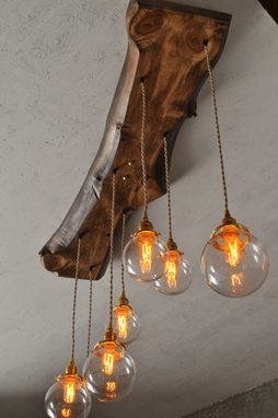 Custom Made The Big Sur Glass Orb Live Edge Wood Chandelier