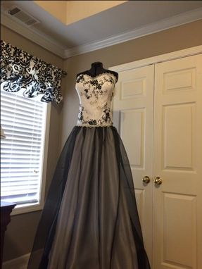 Custom Made Black And White Satin, Lace And Organza Wedding Dress
