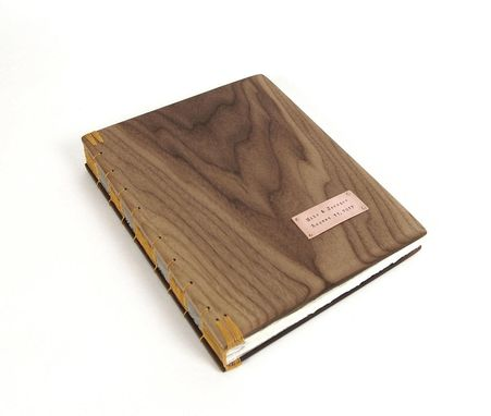 Custom Made Wood Guest Book -Black Walnut - Custom Wedding Personalized Fall Yellow Brown Rustic