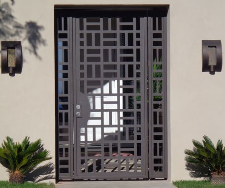 Custom Made Custom Contemporary Metal Entry Gate Panels Steel Iron Walk Thru Garden