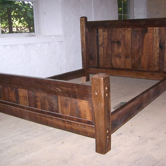 buy hand crafted reclaimed antique oak wood queen size rustic bed frame with beveled posts made to order from the strong oaks woodshop custommadecom - Queen Wood Bed Frames