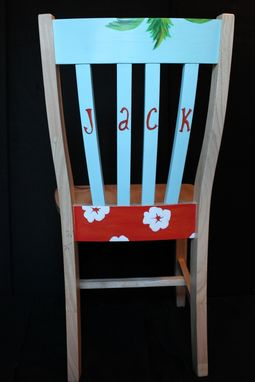 Custom Made Hand Painted Surfboard Themed Chair