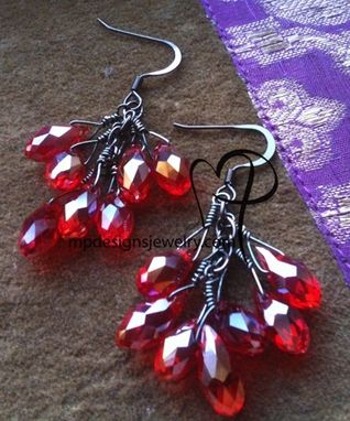 Custom Made Deck The Halls Red Crystal Cascade Earrings