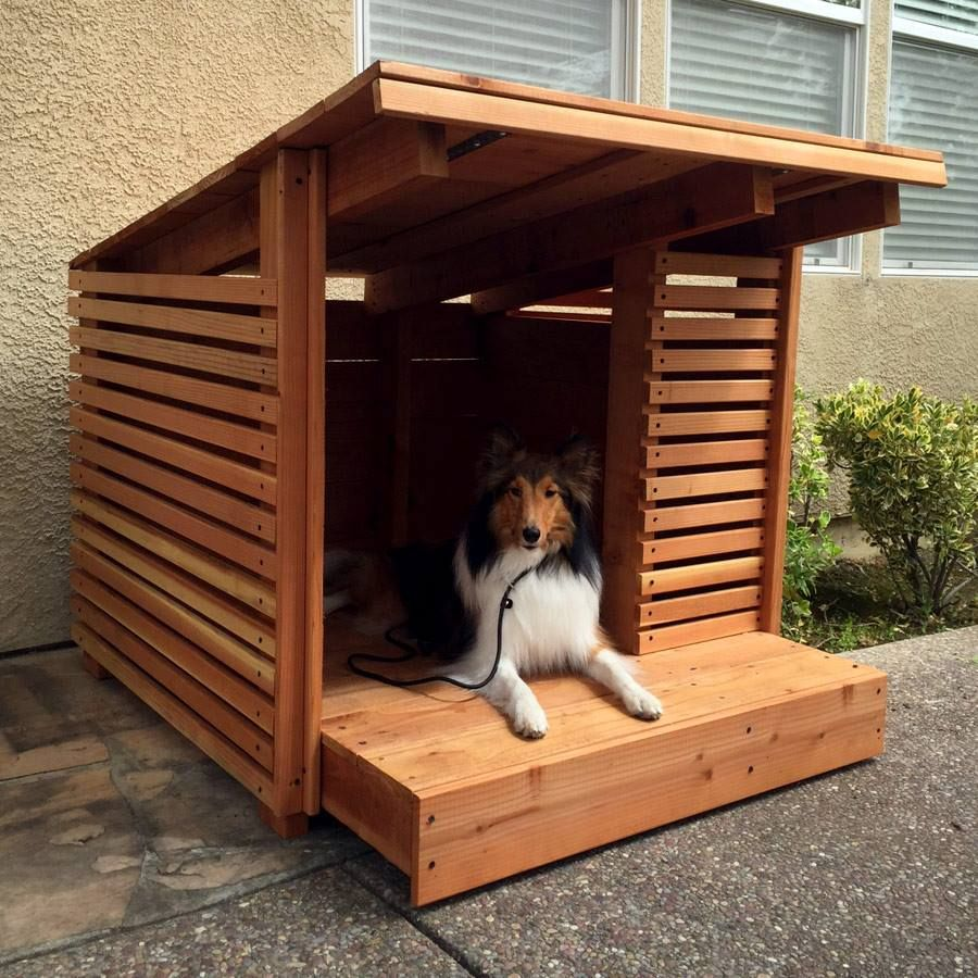 Hand Made Redwood Dog House By Strong Wood Studio
