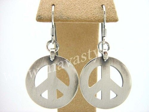 Custom Made Sterling Silver Peace Sign Symbol Earrings