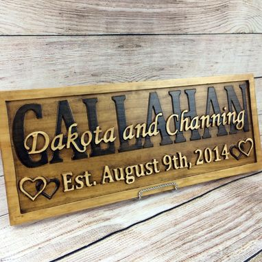 Custom Made Last Name Established Sign Family Name Signs Wedding Gift Wood Sign 5 Year Anniversary Gift
