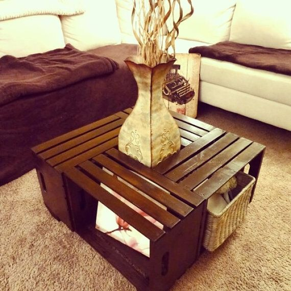 Hand Crafted Wine Crate Coffee Table Rustic