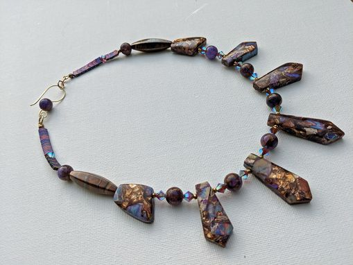 Custom Made Lavender Opal And Bronzite Necklace