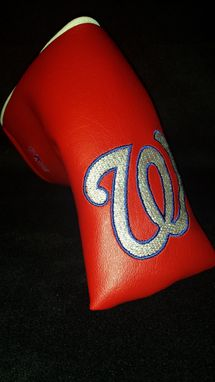 Custom Made Custom Putter Fore Leaf Golf Head Cover, Red With Embroidered Washington Nationals Logo