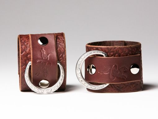 Custom Made Chestnut Leather Bondage Cuffs - Steel Rings - Embossed With Thorns - Ivy Motif - Nickel Fasteners