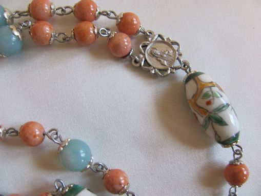 Custom Made Amazonite And Coral Stone Statement Rosary With Hand Painted Beads