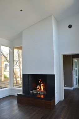 Custom Made Custom Steel And Walnut Fireplace