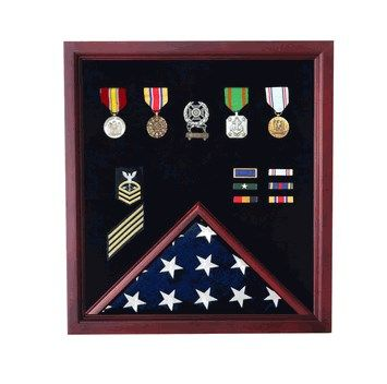 Custom Made Veterans Flag , Photo, Medal Display Case