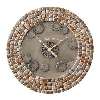 Custom Made Mini Noce Slate Porcelain Mosaic Wall Clock, Metal, Large, Contemporary, Silent Non Ticking