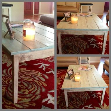 Custom Made Antiqued Cottage Style Coffee Table