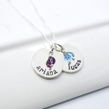 Custom Made Personalized Mother Of Two Hand Stamped Necklace