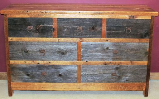 Custom Made Reclaimed Barn Wood Dresser Two Tone 7 Drawer