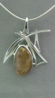 Custom Made Hand Forged Sterling Silver Pendant Set With Rutilated Quartz