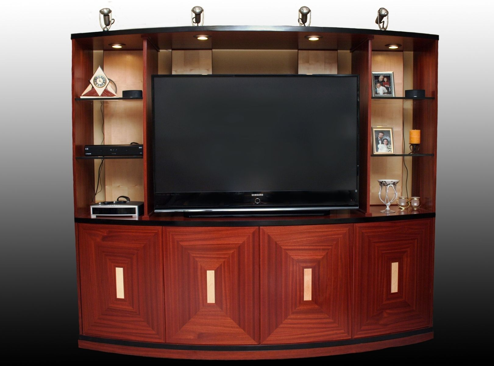 Hand Made Curved Entertainment Center By Ws Woodmasters
