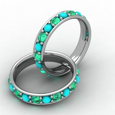 Custom Made Turquoise And Green Emerald Ring
