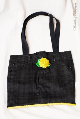 Custom Made Upcycled Black And Yellow Plaid Pants Bag