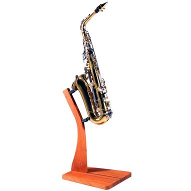 Custom Made Wooden Saxophone Floor Stand For Alto And Tenor Sax - Mahogany, Walnut, Maple Or Cherry