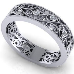 Art Nouveau Diamond Wedding Band Eternity Fl Filigree 14k White Gold By Ilya Kunin